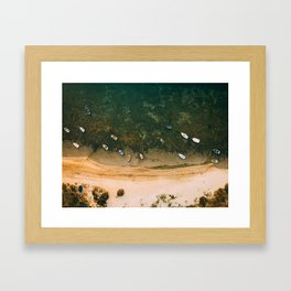 Aerial view of a Lagoon with boats Framed Art Print