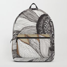 The Sunflower - Black and Gold Ink Backpack