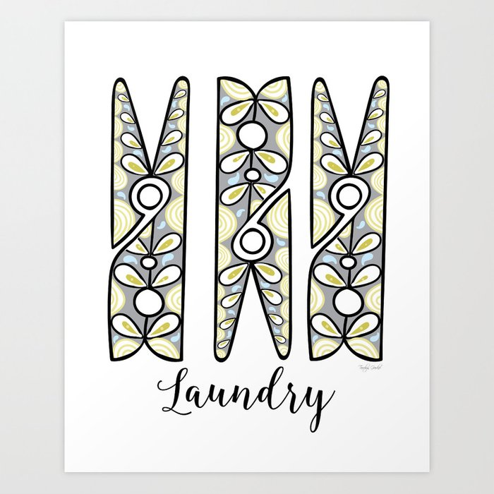 Clothespin Laundry Wall Art Gray Lime Green Pea Blue Print