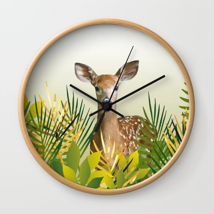 Deer with grass leaves Wall Clock