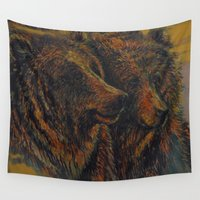 bears Wall Tapestries featuring Bears by lyneth Morgan
