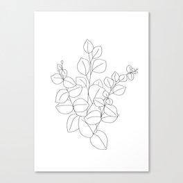 Minimalistic Eucalyptus  Line Art Canvas Print