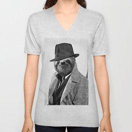 Gentleman Sloth with Coat - Cartoonized Unisex V-Neck