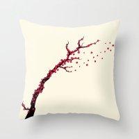 sakura Throw Pillows featuring Sakura by AnishaCreations