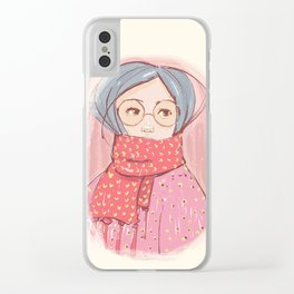 Girl with scarf Clear iPhone Case