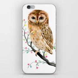 Watercolor Little Owl Portrait iPhone Skin