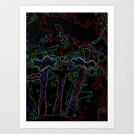 Neon Abstract Bougainvillea Art Print
