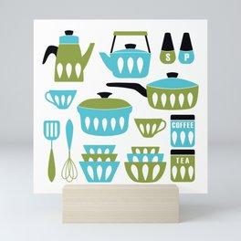 My Midcentury Modern Kitchen In Aqua And Avocado Mini Art Print