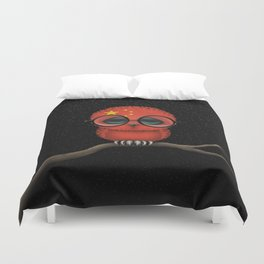 Baby Owl with Glasses and Chinese Flag Duvet Cover