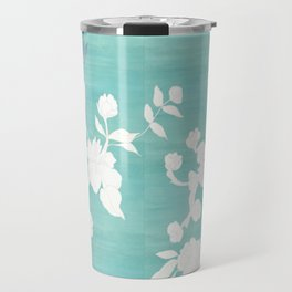 Chinoiserie Panels 3-4 White Scene on Teal Raw Silk - Casart Scenoiserie Collection Travel Mug