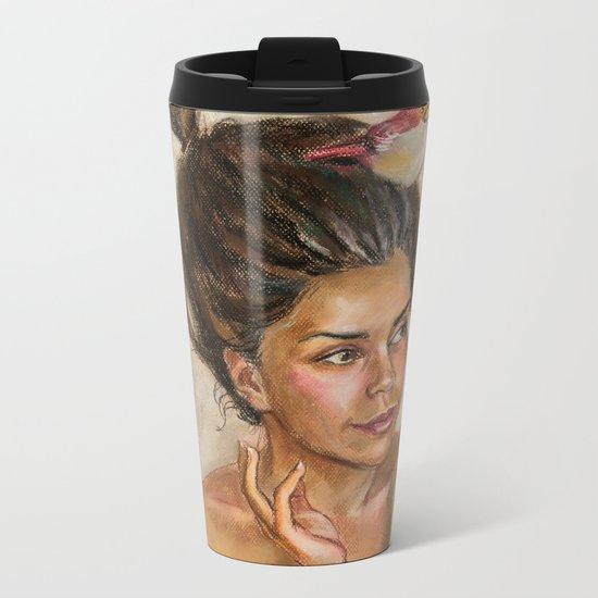 Girl with butterflies Metal Travel Mug