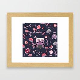 Baby owl, lizards and butterflies Framed Art Print