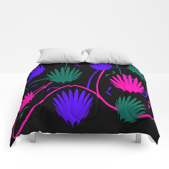 Neon Colorful Palm Comforters
