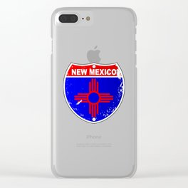 New Mexico Flag Icons As Interstate Sign Clear iPhone Case
