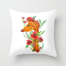 Giraffe with poppies illustration Throw Pillow