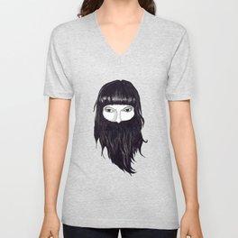 femme à barbe Unisex V-Neck