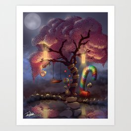 Candy Wonderland Tree Art Print