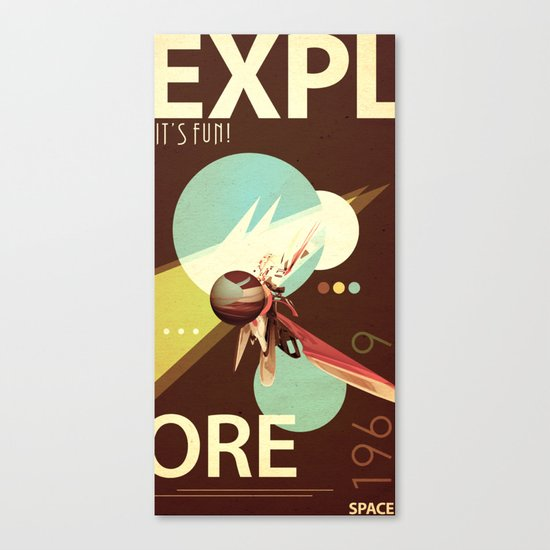 Vintage Space Poster Series I - Explore Space - It's Fun! Canvas Print