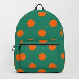 XX Large Pumpkin Orange on Elf Green Polka Dots Backpack