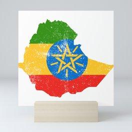 Distressed Ethiopia Map Mini Art Print