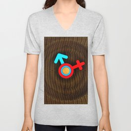 Illustration imitating a decorative clock with a mesh structure. Symbol of man and woman. Unisex V-Neck