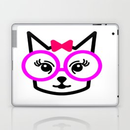 Cute Cat Girl Wearing Glasses Laptop & iPad Skin