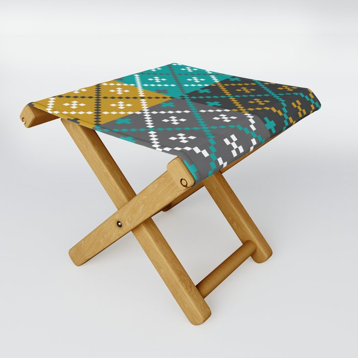 Folk Art Patchwork Folding Stool