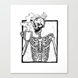 Skeleton Drinking a Cup of Coffee Canvas Print
