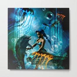 Cute mermaid with dolphin Metal Print