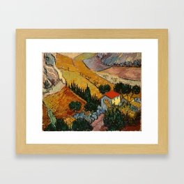 Landscape With House And Ploughman - Van Gogh Framed Art Print