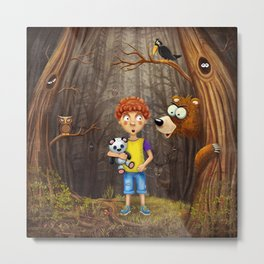 Little boy with the animals in the wood Metal Print