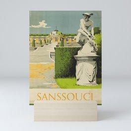 old poster Sanssouci Palace Germany GDR DDR Mini Art Print