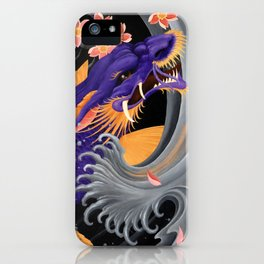 Purple Dragonkoi with Sakura iPhone Case