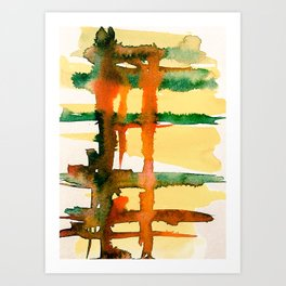 Yellow Green Orange Lines Watercolor Abstract Art Print