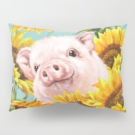 Baby Pig with Sunflowers in Blue Pillow Sham