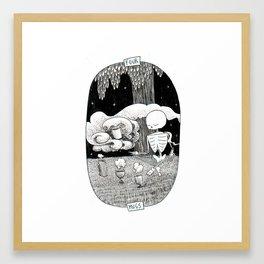 Four of Mugs Skeleton Tarot Framed Art Print