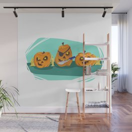 Silly Halloween Pumpkins Wall Mural