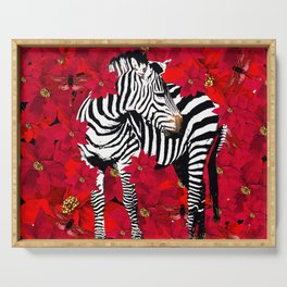 ZEBRA AND FLOWERS Serving Tray