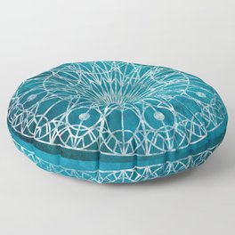Rosette Window - Teal Floor Pillow