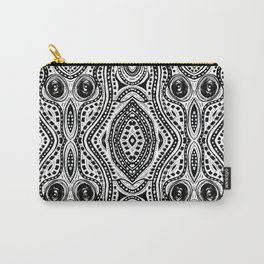 Black and White Wavy Design Carry-All Pouch