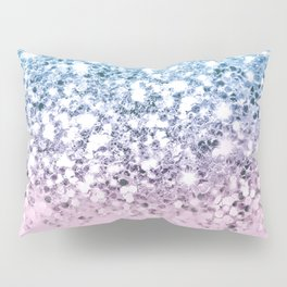 Sparkly Unicorn Blue Lilac & Pink Ombre Pillow Sham