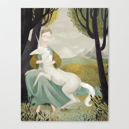 The Maiden and the Unicorn Canvas Print