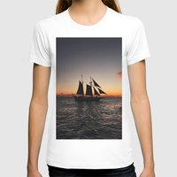 sailboat T-shirts featuring Sunset Sailboat by Jonny Haring
