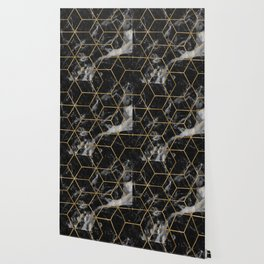 Golden deco black marble geo Wallpaper