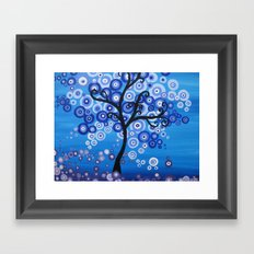 blue sea tree - shades of blue with bubble leaves Framed Art Print