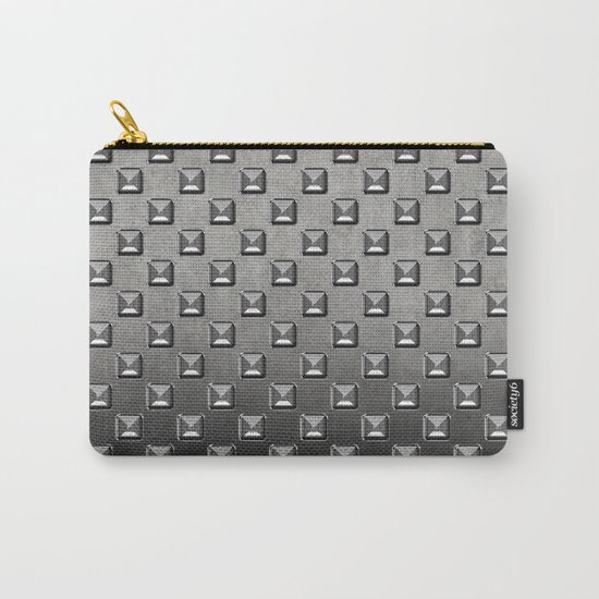 Silver Shine square embellishment on grey Carry-All Pouch