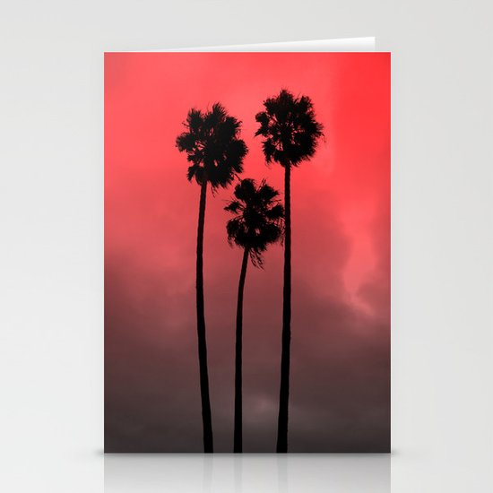 Red Fade Palm Trees Stationery Cards