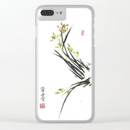 Green Wild Orchid Two Clear iPhone Case