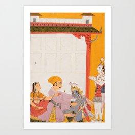 Krishna and Balarama Touching the Feet of Vasudeva and Devaki - 18th Century Classical Hindu Art Art Print