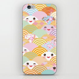 seamless pattern Kawaii with pink cheeks and winking eyes with japanese sakura flower iPhone Skin